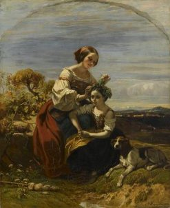 Italian Girls in the Roman Campagna | Camille Joseph Etienne Roqueplan | Oil Painting