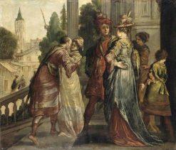 Réunion de dames et de cavaliers sur le perron de chateau (Reunion of women and soldiers on the Balcony of a Chateau) | Claude Vignon | Oil Painting