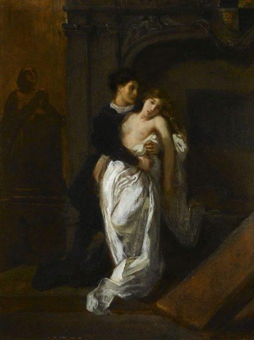 Romeo et Juliette au tombeau des Capulet (Romeo and Juliet at the Capulet's Tomb) | Eugene Delacroix | Oil Painting