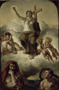 Esquisse pour la Vierge du Sacré-Coeur (Sketch for the Virgin of the Sacred Heart)   Eugene Delacroix   Oil Painting