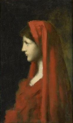 Head of a Woman with Red Scarf | Jean Jacques Henner | Oil Painting