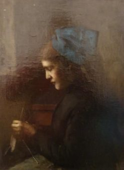 An Alsatian with Blue Headscarfe Stitching | Jean Jacques Henner | Oil Painting