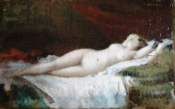 Woman Lying on a Couch (inspired by Titian)   Jean Jacques Henner   Oil Painting