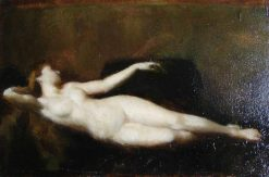 Woman Lying on a Couch   Jean Jacques Henner   Oil Painting