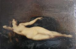 Woman Lying on a Black Couch   Jean Jacques Henner   Oil Painting