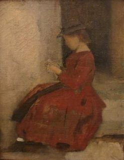 Young Alsatian Peasant Stitching | Jean Jacques Henner | Oil Painting
