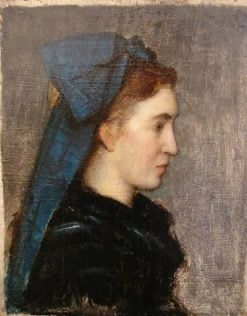 Head of a Girl from Alsace with Blue Scarf | Jean Jacques Henner | Oil Painting