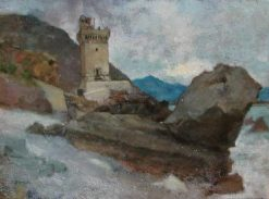 View of Terracine   Jean Jacques Henner   Oil Painting