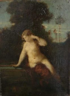 Woman Seated beside a Fountain   Jean Jacques Henner   Oil Painting