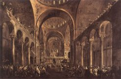 Doge Alvise IV Mocenigo Appears to the People in St Mark's Basilica in 1763   Francesco Guardi   Oil Painting