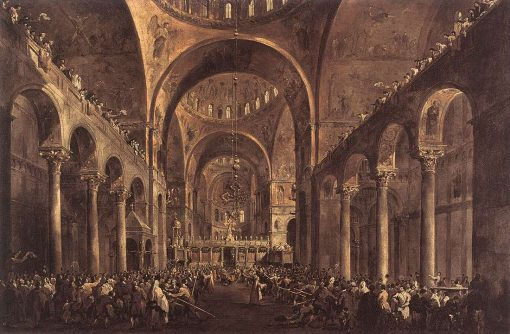 Doge Alvise IV Mocenigo Appears to the People in St Mark's Basilica in 1763 | Francesco Guardi | Oil Painting