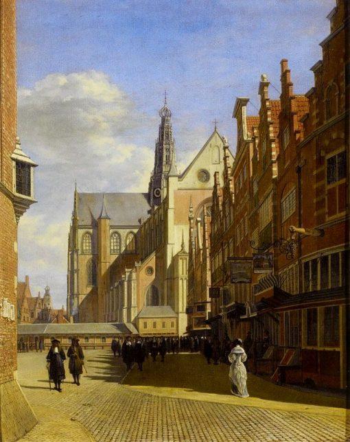 The Grote Markt in Haarlem with the Grote or St. Bavokerk | Gerrit Adriaensz.Berckheyde | Oil Painting
