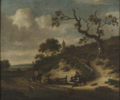 Landscape with a Beggar   Jan Wijnants   Oil Painting