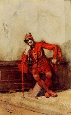 Seated Buffoon   Eduardo Zamacois y Zabala   Oil Painting