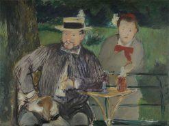 Portrait d'Ernest Hoschedé and His Daughter Marthe | Edouard Manet | Oil Painting