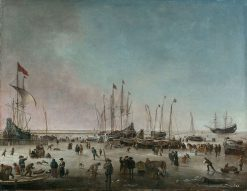 The Port of Amsterdam in Winter | Hendrick Jacobsz. Dubbels | Oil Painting