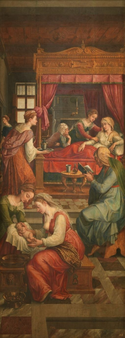 The Birth of the Virgin   Michiel Coxie   Oil Painting