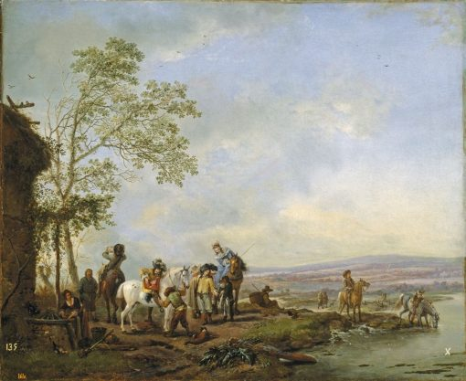 Selling of Merchandise by the River | Philips Wouwerman | Oil Painting