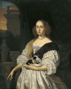 Portrait of a Lady with a Lapdog | Frans van Mieris the Elder | Oil Painting