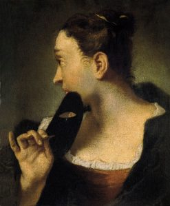 Portrait of a Young Woman in Profile with a Mask | Giovanni Battista Piazzetta | Oil Painting