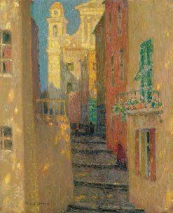 La rue de l'Eglise Villefranche-sur-Mer | Henri Le Sidaner | Oil Painting