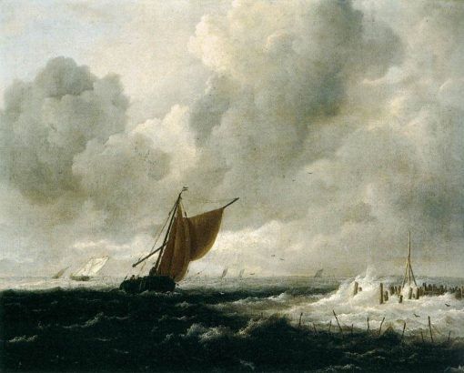 Stormy Sea with Sailing Boats | Jacob van Ruisdael | Oil Painting