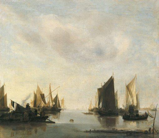 Coast Scene with Sailing Vessels | Jan van de Cappelle | Oil Painting