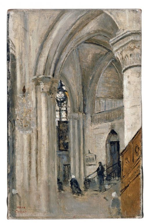 Interior of the Cathedral at Mantes | Jean Baptiste Camille Corot | Oil Painting