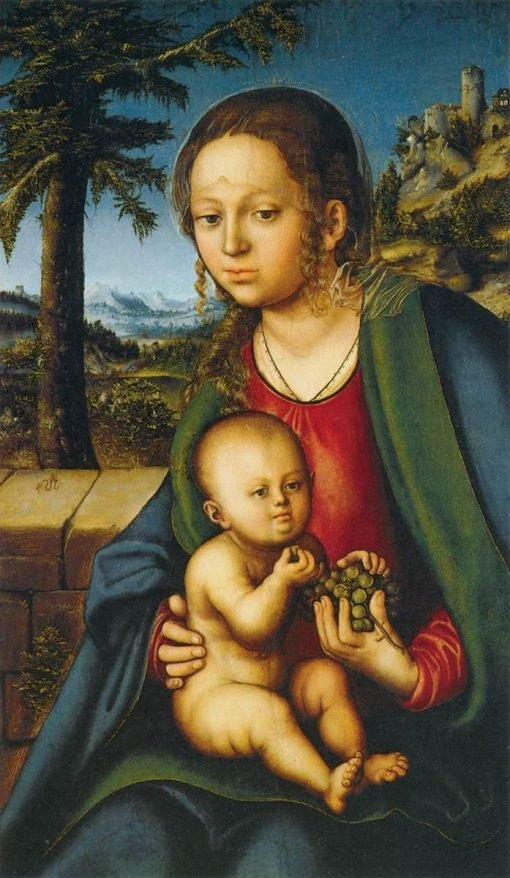 The Virgin and Child with a Bunch of Grapes   Lucas Cranach the Elder   Oil Painting