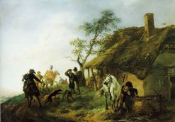 Falconers passing a Farmhouse | Philips Wouwerman | Oil Painting