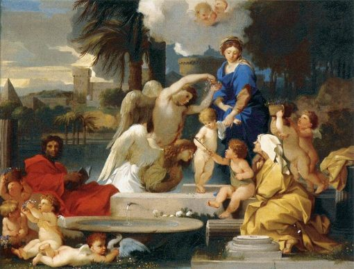 The Holy Family with St Elizabeth and the Infant St John the Baptist | Sebastien Bourdon | Oil Painting
