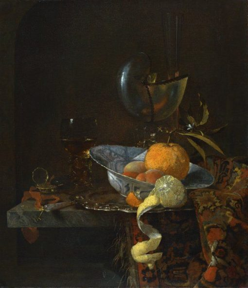 Still Life with Porcelain Bowl and Nautilus Cup | Willem Kalf | Oil Painting