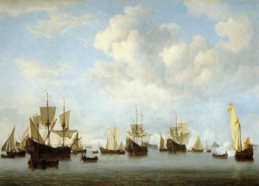 The Dutch Fleet in the Goeree Straits (Guinea) | Willem van de Velde the Younger | Oil Painting