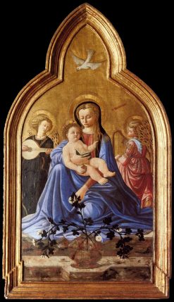Madonna and Child with Two Angels (Madonna of Humility) | Master of the Castello Nativity | Oil Painting