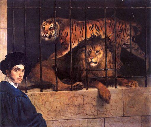A Lion and a Tiger in a Cage with a Portrait of the Artist | Francesco Paolo Hayez | Oil Painting