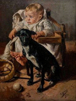 The Baby and his Good Companion | Francisco Gimeno y Arasa | Oil Painting