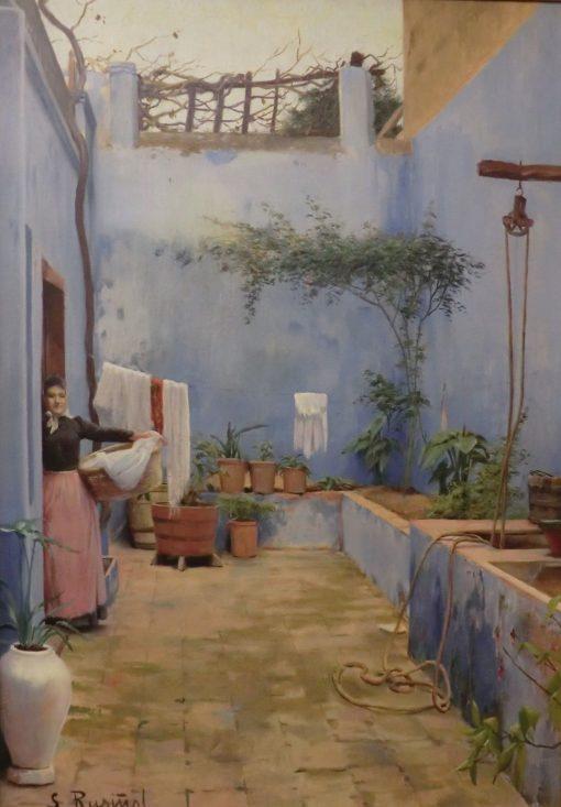 The Blue Patio   Santiago Rusiñol Prats   Oil Painting