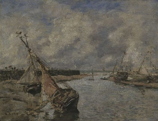 Trouville-Deauville - Low Tide | Eugene Louis Boudin | Oil Painting