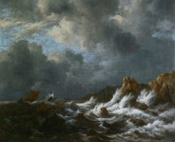 View from the Coast of Norway or A Stormy Sea Near the Coast | Jacob van Ruisdael | Oil Painting