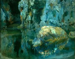 The Rock in the Pond   Joaquin Mir Trinxet   Oil Painting