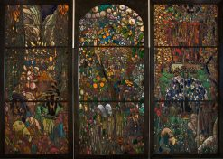 Stained glass triptych: El Gorg Blau | Joaquin Mir Trinxet | Oil Painting