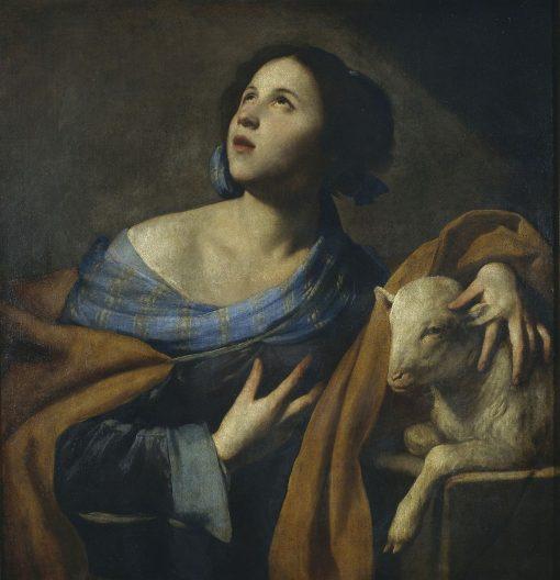 Saint Agnes   Massimo Stanzione   Oil Painting