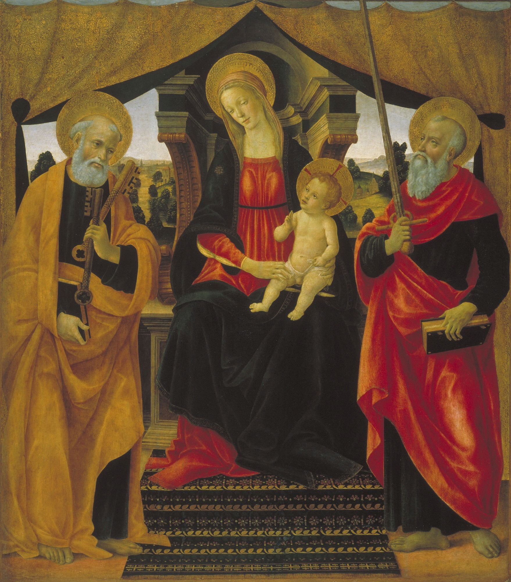 Virgin and Child between Saint Peter and Saint Paul   Vincenzo Frediani   Oil Painting