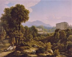 Landscape with view of Palazzo Chigi in Ariccia | Johann Christian Reinhart | Oil Painting