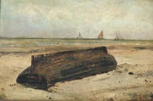 An Upturned Boat on a Beach | Jacob Maris | Oil Painting