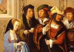 Potiphar Shows Her Husband's Cloak with Joseph Being Taken to Prison | Lucas van Leyden | Oil Painting