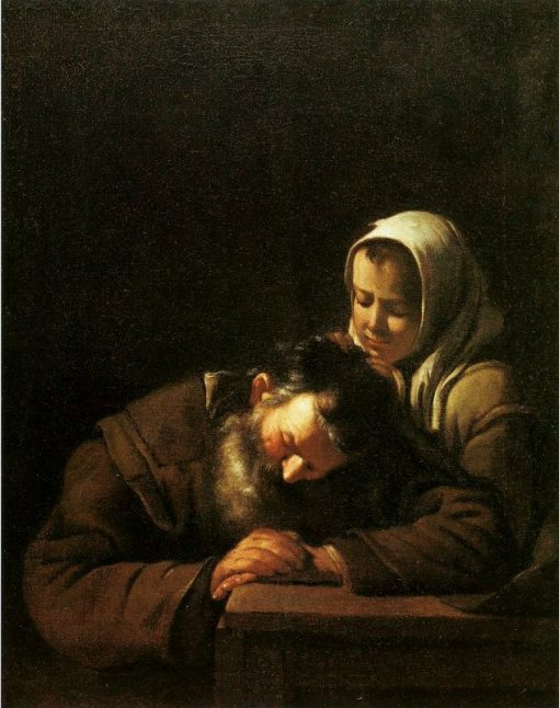Sleeping Old Man with a Girl | Michiel Sweerts | Oil Painting