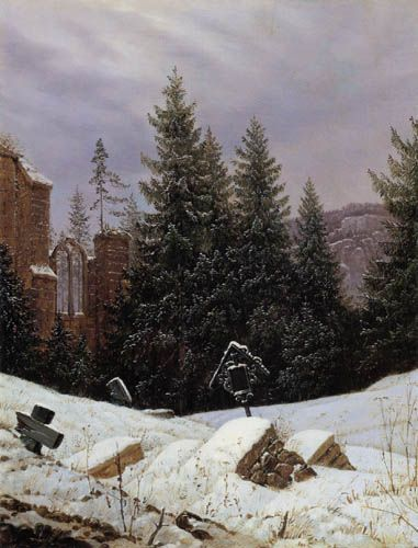 Snow Scene at Friedhof | Carl Gustav Carus | Oil Painting