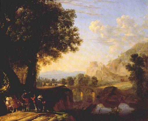 Italian Landscape with Bridge and Castlke | Herman van Swanevelt | Oil Painting