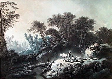 Mountainous Forest Landscape with Shepherd and Shepherdess | Jean Pillement | Oil Painting